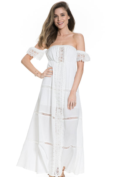 Off-shoulder maternity dress in white