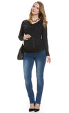 Long Sleeve V Neck Ruched Maternity Top in Black | Mayarya