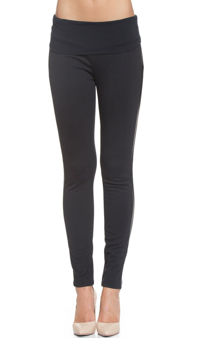 Faux Leather Side Maternity Treggings