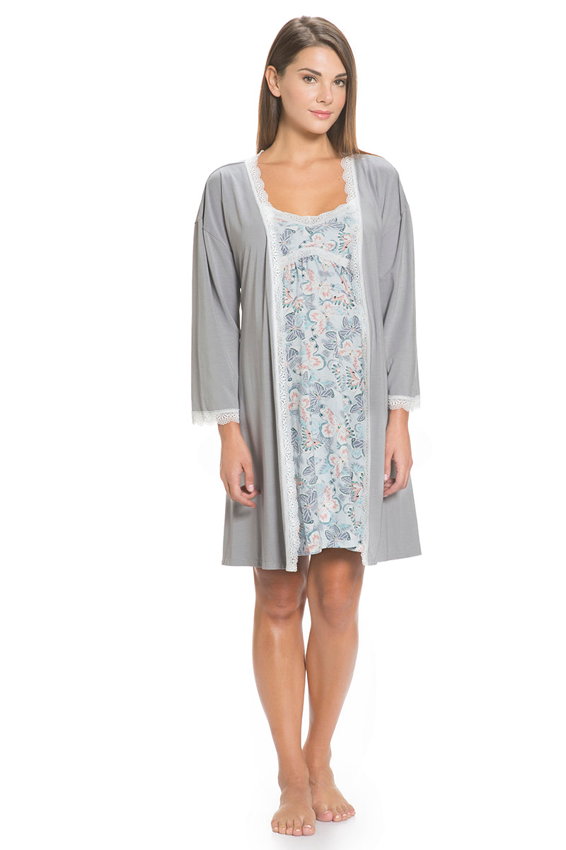 Simple yet elegant in classic yet modern grey Lace Robe