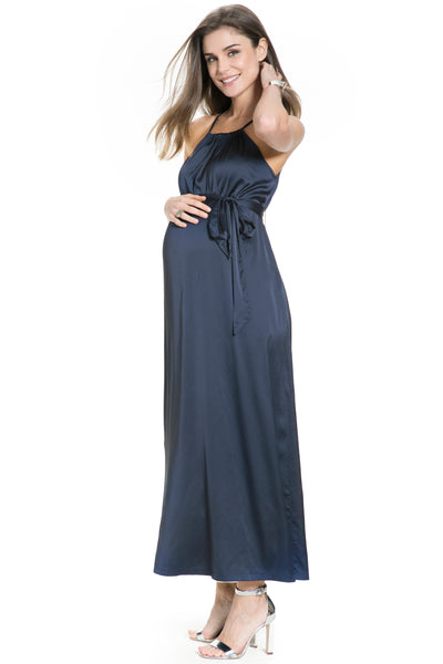 Sevilla Maxi Maternity and Nursing Dress with Halter neck, adjustable high waist bow tie