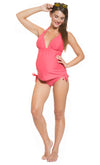Tie Neck Maternity Tankini Set