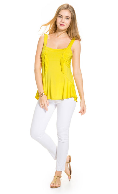 Side Draped Maternity Top in Yellow