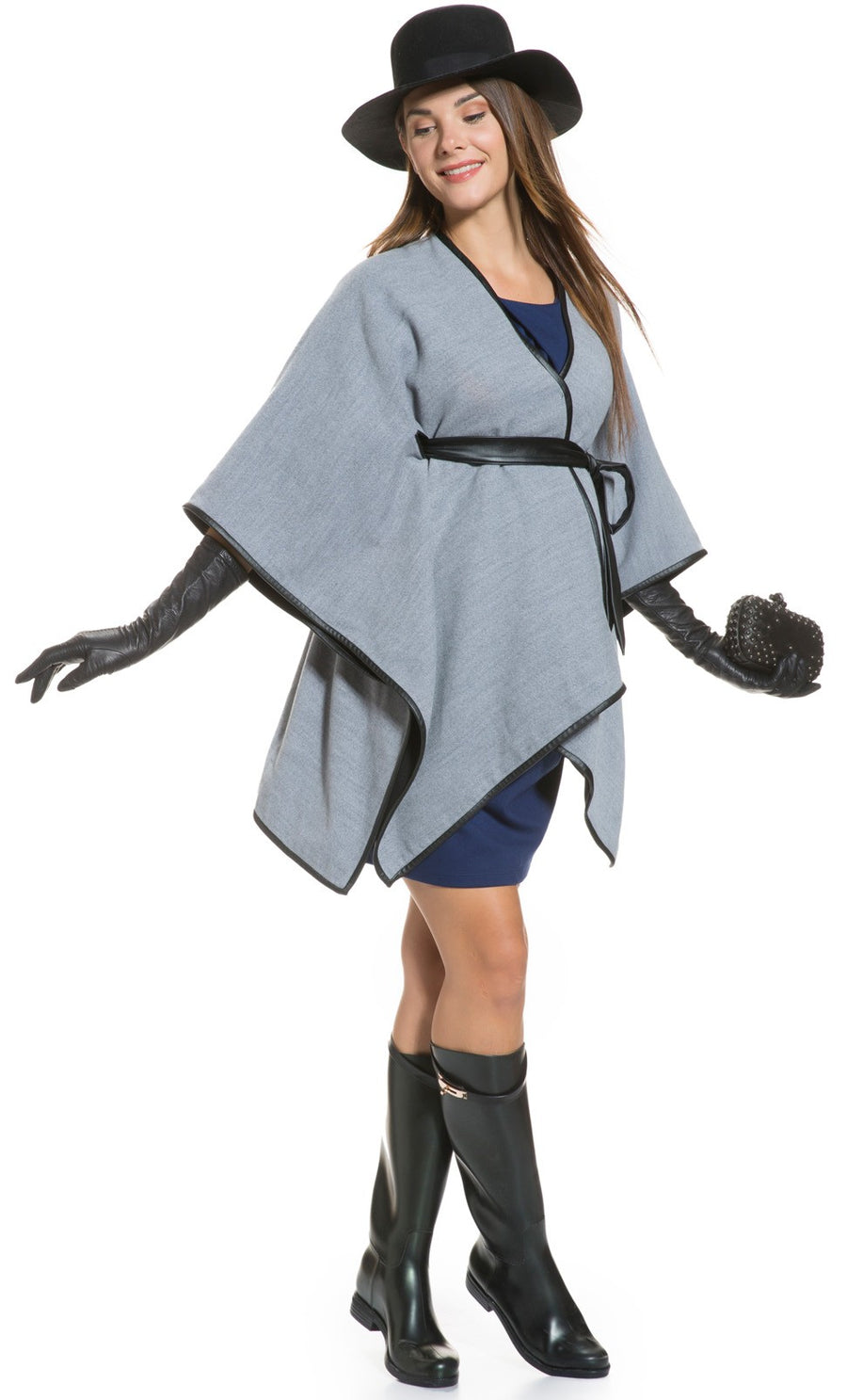 Two Way Faux Leather Trimmed Maternity Cape