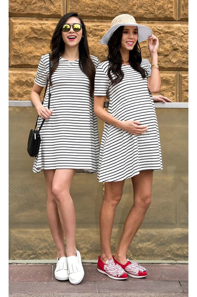 Black Striped Maternity and Nursing Dress