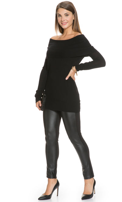 Faux Leather Front Treggings