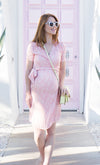 Pink Summer Maternity Wrap Dress