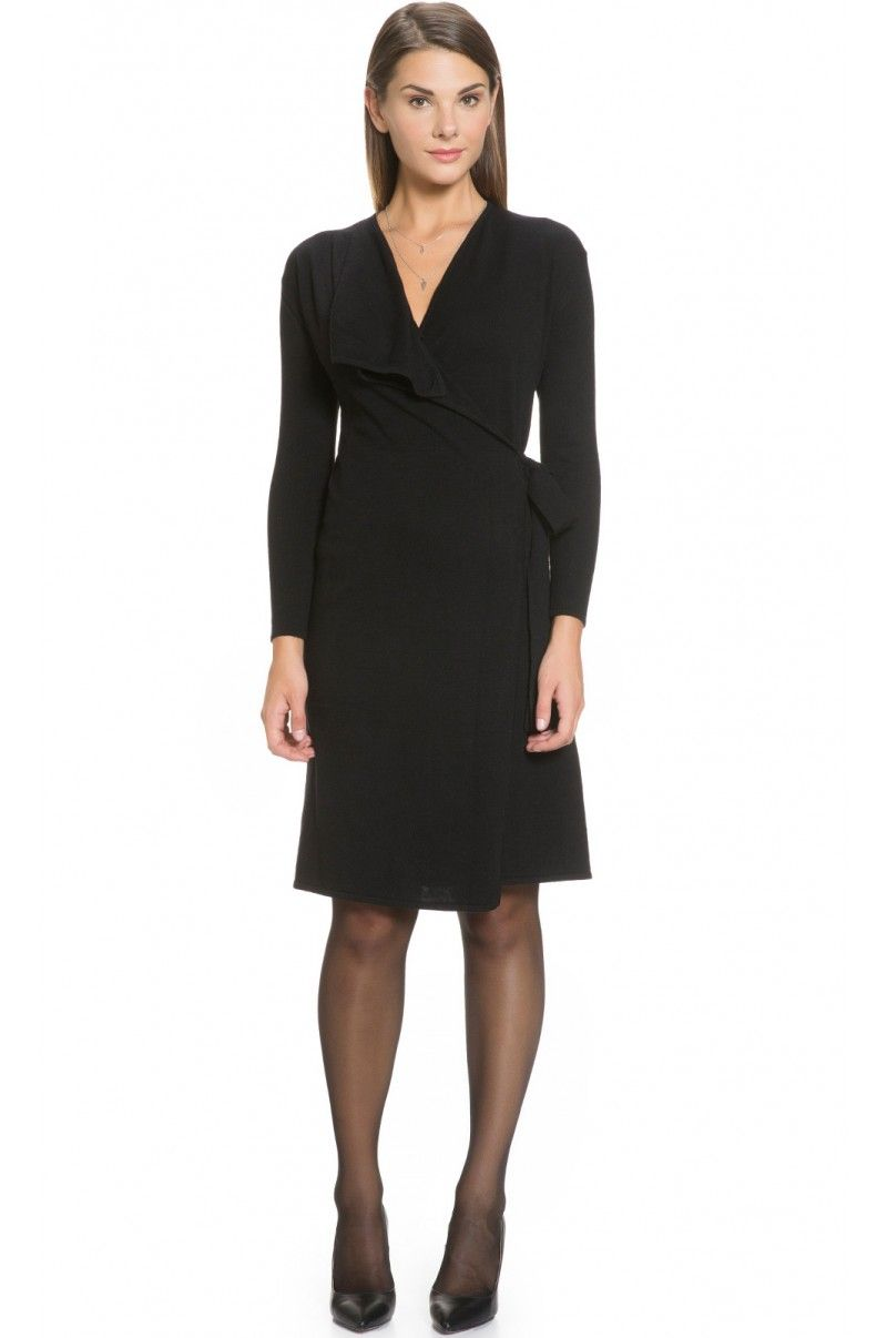 Wool Cashmere Blend Waterfall Wrap Dress