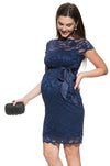 Mayarya Fuchsia Short Sleeve Lace Maternity Dress in Navy