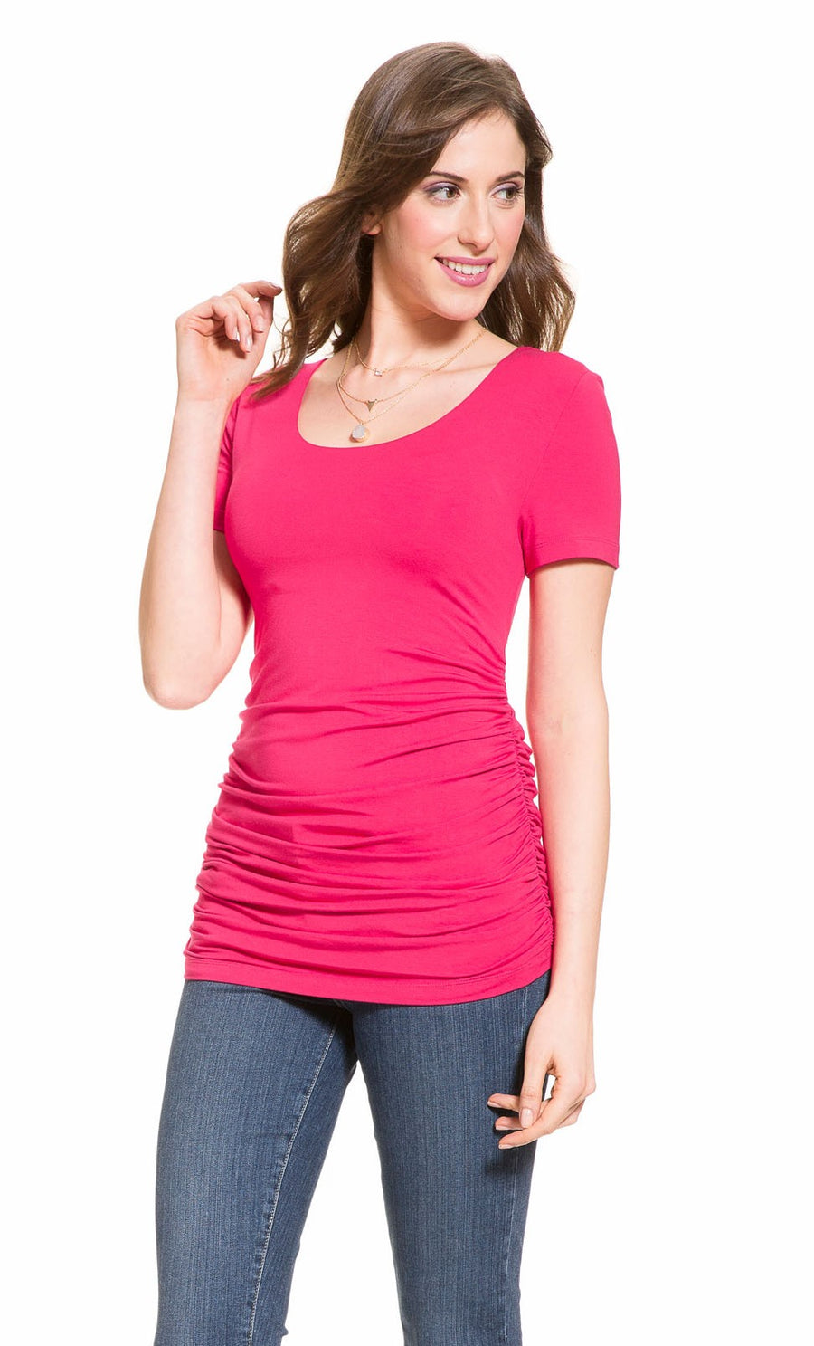 Short Sleeve Ruched Top in Rose