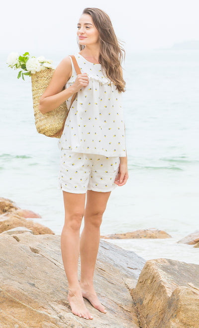 Floral Embroidered Maternity Shorts with Essential Bellyband