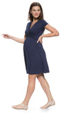 Cap Sleeve Front Twisted Maternity and Nursing Dress