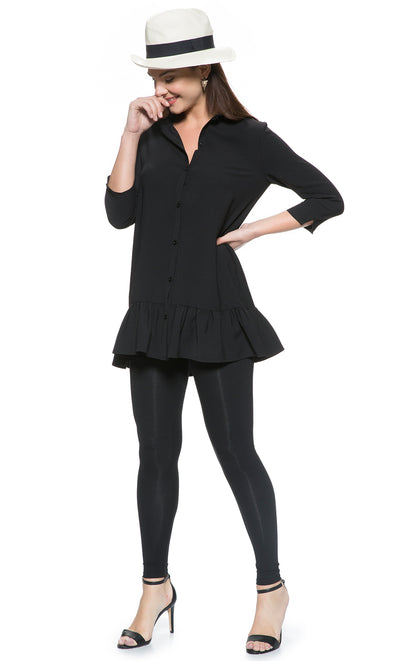 Ruffle Hem Maternity and Nursing Tunic Shirt