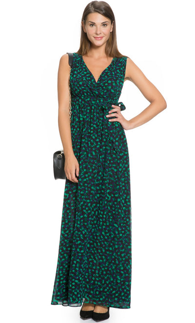 Dotted Print Maternity and Nursing Maxi Dress