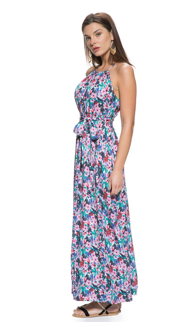 Floral Print Maternity and Nursing Maxi Dress