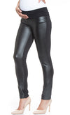 Faux Leather Front Materntity Treggings