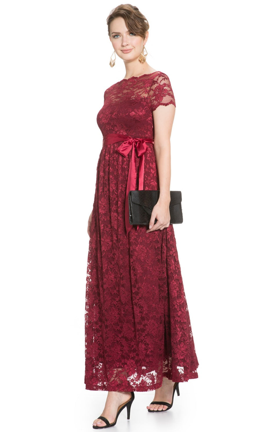 Mayarya Fuchsia Maternity Lace Gown in Wine