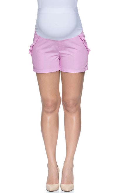 Ruffle Maternity Shorts with Essential Bellyband
