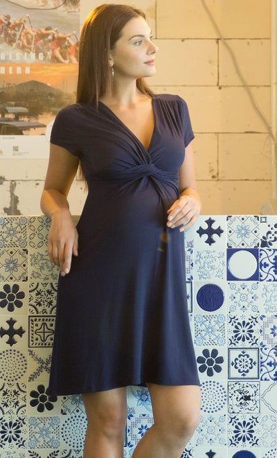 Blue Maternity and Nursing Dress