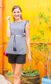 Ruffle Striped Maternity and Nursig Top