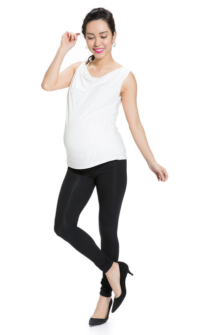 Twisted Cowl Neck Maternity Top in White
