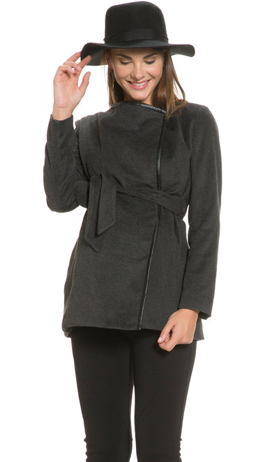 Faux Leather Trimmed Wrap Coat