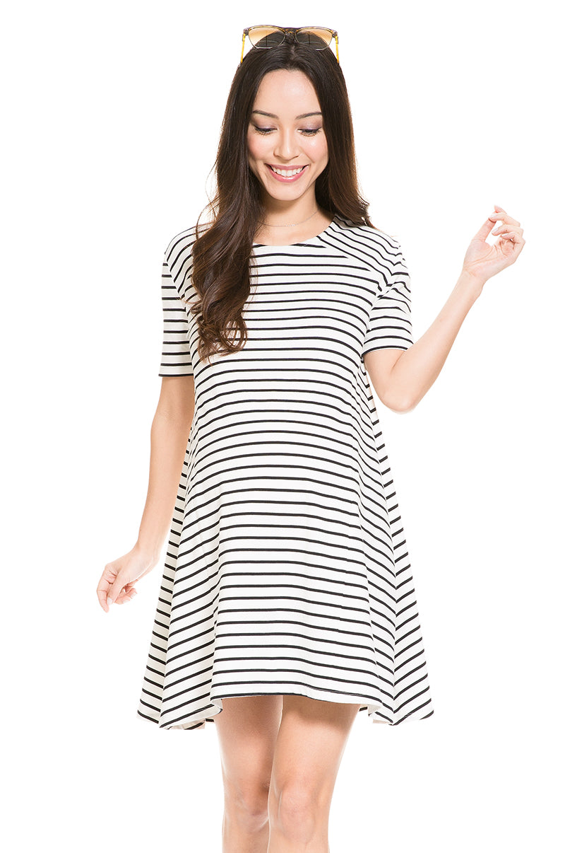 4911c9cc972 Striped A-Line Maternity & Nursing Dress | Maternity Wear | Mayarya