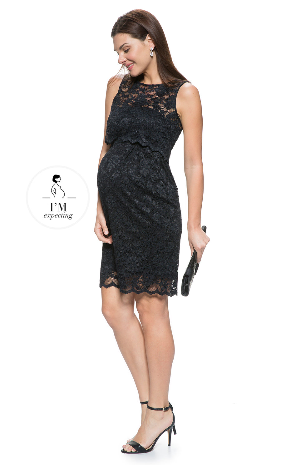 Lace Maternity and Nursing Dress in Black