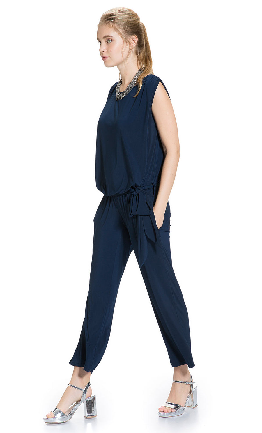 Side Pleated Jumpsuit