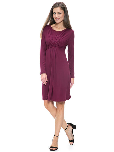 Porto Jersey Maternity Dress Wine color front