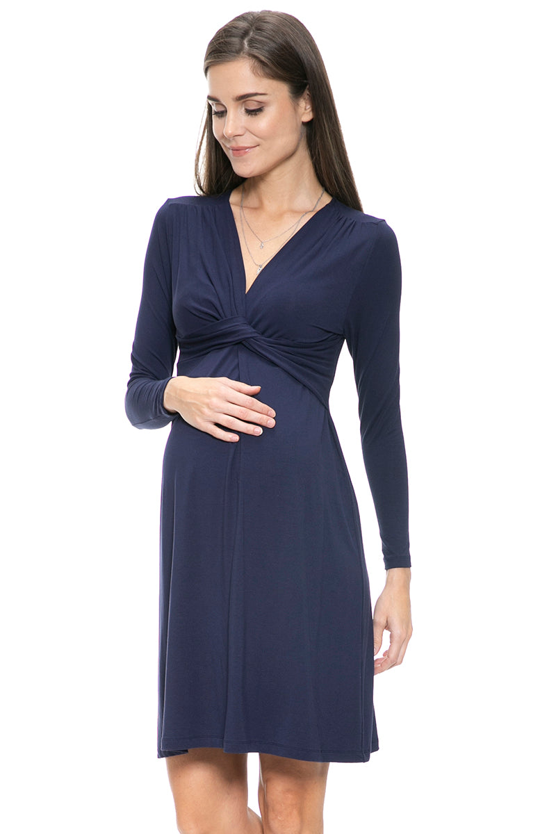 3a882f50827 Long Sleeve Front Twisted Maternity and Nursing Dress