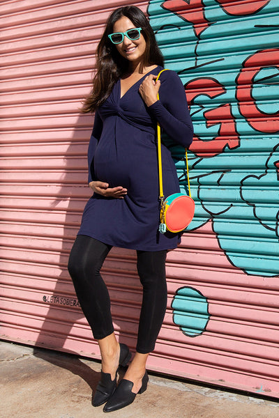 Long Sleeve Front Twisted Dress Wear before, during and after pregnancy