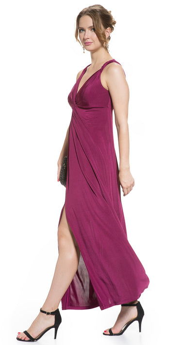 Party Wear Twist Shoulder Maternity and Nursing Maxi Dress