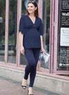 V-Shaped Kimono Maternity Top in Navy