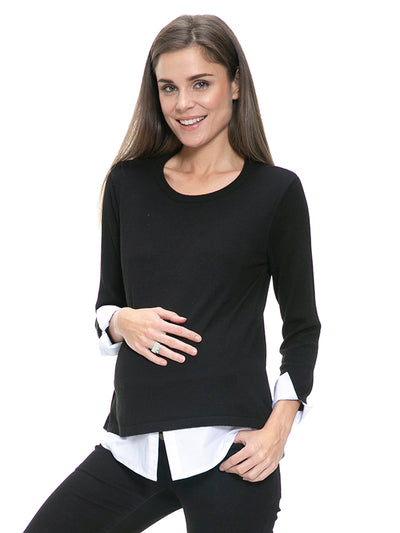 Layered Cashmere Blend Maternity and Nursing Top