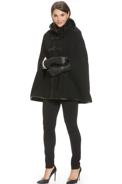 Hooded Trimmed Cape with Leather Gloves
