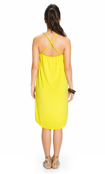 Twisted Strap Maternity Dress in Yellow
