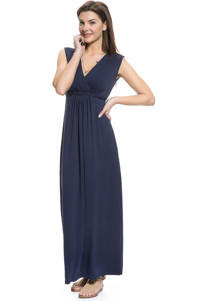 Tie Waist Maternity and Nursing Maxi Dress