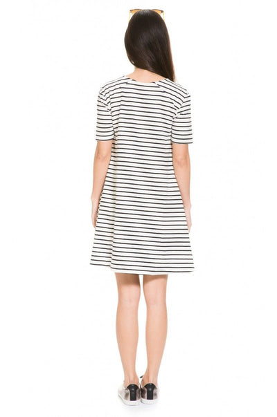 Back side of Striped A-line Maternity and Nursing Dress