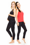 Set of Active Top and Black Over Belly Active Pants with Convertible over- or under-belly panel