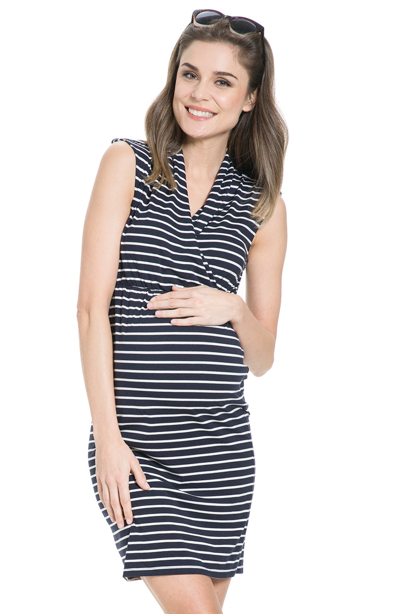 bf2d14798cb Milos Maternity and Nursing Dress with Navy and White Striped