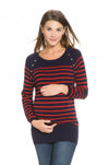 Wool Cashmere Popper Stripe Sweater