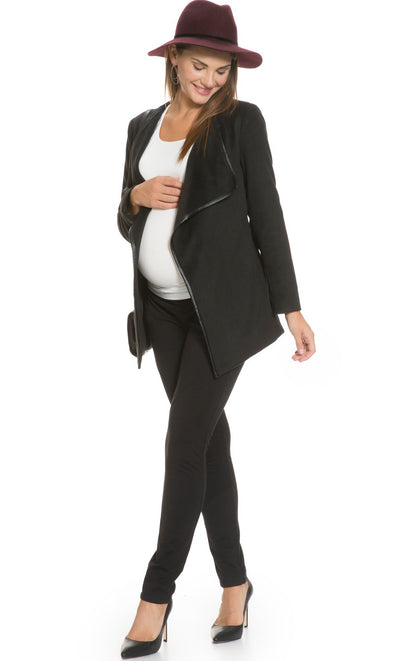 Faux Leather Trimmed Wrap Maternity Coat in Black