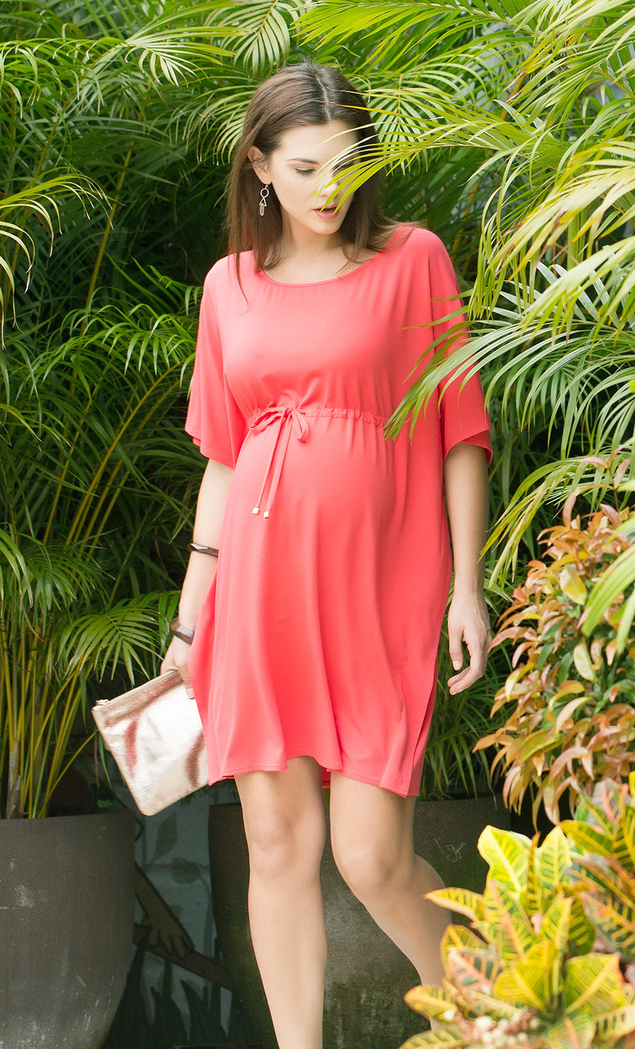 Boatneck Drape Sleeve Dress