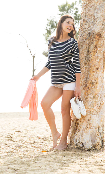 White Denim Maternity Shorts