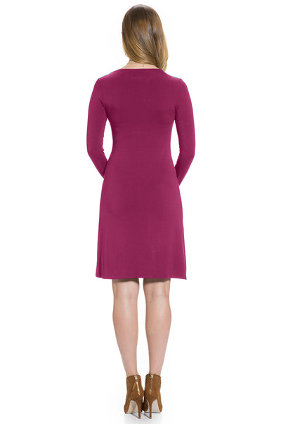 Long Sleeve Maternity & Nursing Front Twisted Dress