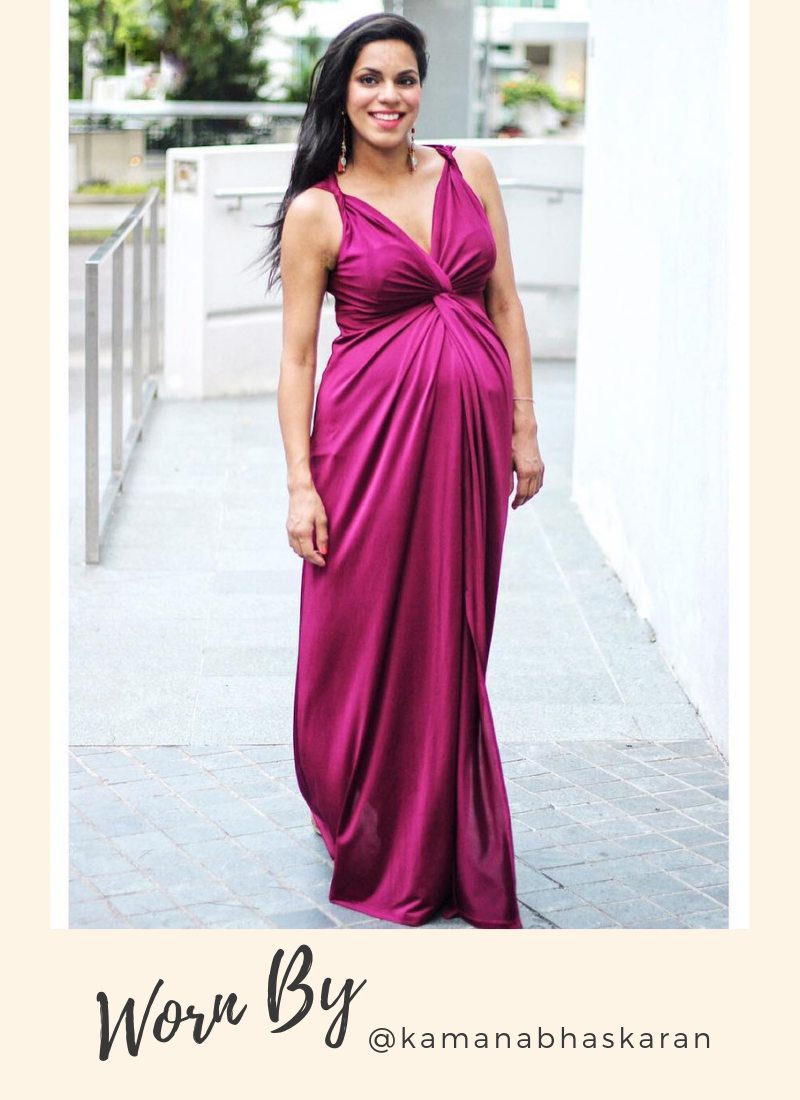 Mayarya Fuchsia Twist Shoulder Maternity and Nursing Maxi