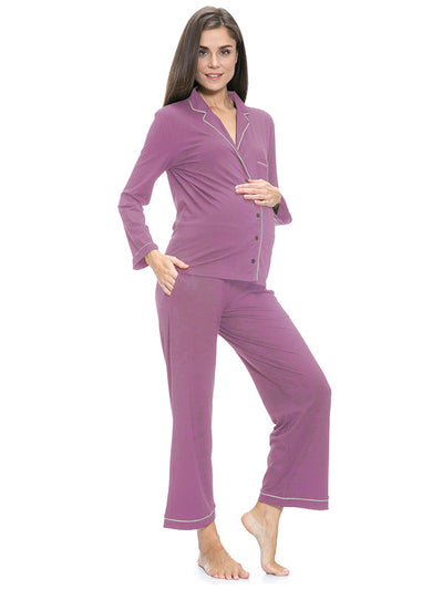 Cosy and Classic PJ Set for Pregnancy and Nursing