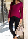 Cashmere Blend Criss Cross Maternity and Nursing Sweater in Wine color