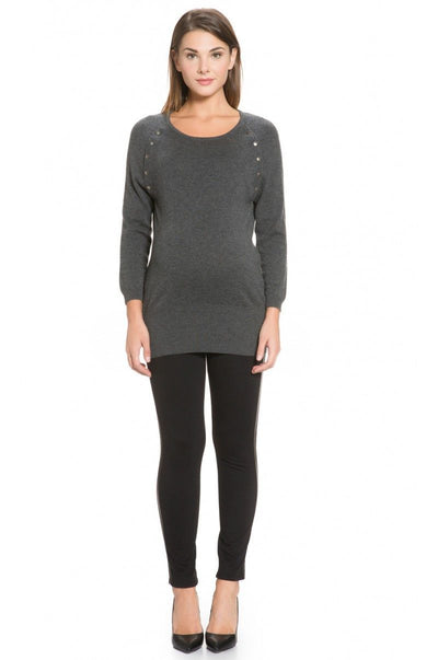 Wool Cashmere Popper Sweater